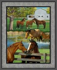 """New listing Summer Breeze Farm Horse 35"""" Panel 100% Cotton Fabric by The Panel"""