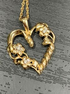 """14k Yellow Gold  Diamond Flower Open Heart Gift Necklace Pendant With 15"""" Chain"""