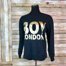 Boy London Sweatshirt Extra Small XS Black Oversize Crop Style Jumper Gold Font
