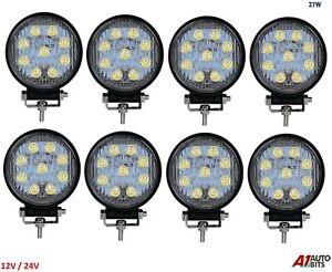 27w 9 Led 12v 24v Work Fog Spot Light Round 8X Lamps Off-Road Truck Boat Uk