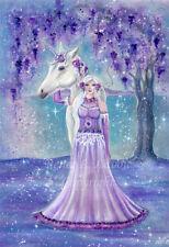New ListingUnicorn fantasy wisteria goddess fairy floral original 12 x 16 By Renee L Lavoie