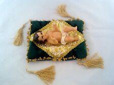 "6"" Inch Statue of Baby Jesus Christ On Green Cloth Nino Niño Dios Christmas"