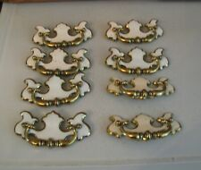 Vtg Brass & White Drop Bail Dresser Drawer Pull LOT 8 Handle Chippendale Style