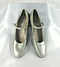 ROBERT CLERGERIE PARIS - Silver Mary-Janes (Low Heel) - Size 6.5
