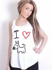 New Women Ladies Summer White cotton Crafted Heart Dog Sleeveless Vest Top