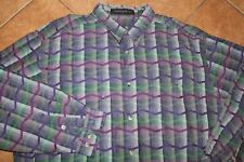 Jhane Barnes Rare Pattern Blue Green Purple LS Button Up Shirt Men's XL X-LG