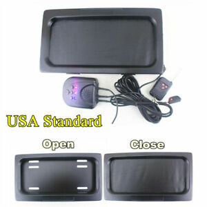 1 Set Hide-Away Shutter Cover Up Electric Stealth License Plate Frame w/ Remote