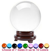 Amlong Crystal Meditation Divination Sphere Crystal Ball with Wood Stand