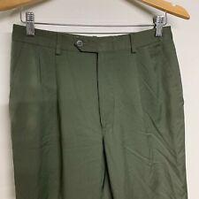 Burberry Vintage Green 100% Wool Lightweight Straight Leg Trousers Pants W28 L27