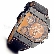 Military Men's Watches 3 Time Zone Dial Quartz Leather Band Wrist Watch Orange