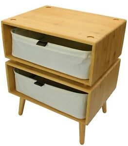 Set of 2 Bamboo Cabinets, Bedside Tables, Fabric Storage Baskets