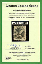 US #78 Used 24c Washington w/ American Philatelic APEX Certificate