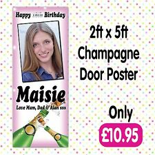 PERSONALISED 2 PHOTO BIRTHDAY PARTY DOOR BANNERS ANY AGE, NAME EVENT A010