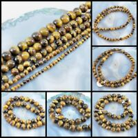 "Natural Yellow Golden Tiger eye Round Spacer Beads 15"" 4mm 6mm 8mm 10mm 12mm"