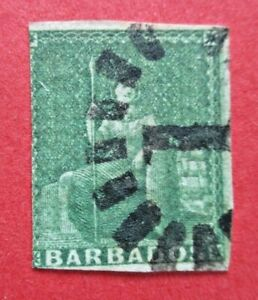 SG7 Barbados Victoria 1857 0.5d Green No Watermark White Paper Used