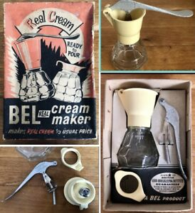 Vintage BEL Royston Empire Jubilee Coffee Cream Maker Glass Creamer Real Boxed