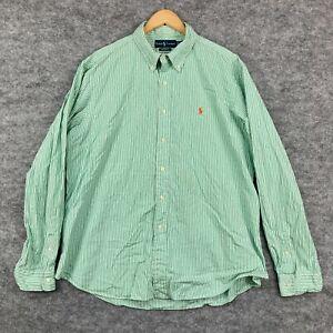 Ralph Lauren Mens Button Up Shirt Size 2XL Green Striped Long Sleeve 42.24