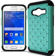 For Samsung Galaxy Ace NXT Case - Teal/Black Hybrid Diamond Bling Skin Cover