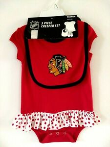 Chicago Blackhawks Baby 6-9 Months 3 Piece Short Sleeve One Piece Set New Reebok