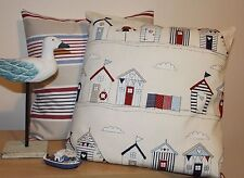 "FRYETTS BEACH HUTS CUSHION COVER RED AND BLUE 16 X 16"" 100% COTTON"