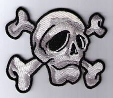 2 SKULL CROSSBONES WHITE CAMO PATCH IRON ON OR SEW ON