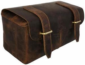 Quality Genuine Leather Men's Shaving, Toiletry and Travel Bag, Dopp Kit