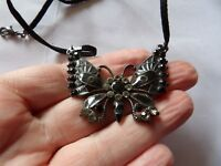 BEAUTIFUL BLACK / GREY ENAMEL CRYSTAL SET BUTTERFLY PENDANT ON CORD 391-64