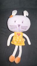 doudou peluche lapin mauve violet robe jaune coeur DPAM du pareil au même 29cm