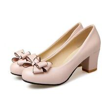 Womens Slip on round toe mid block heel ankle pumps dress bowknot shoes AU4-7.5