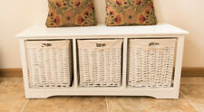 White Shabby Chic 3 Drawer Wicker Storage Unit Drawers Hallway Bench