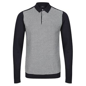 NEXT™ Mens Waffle Polo Shirt New Long Sleeve Textured Knit 3 Button Cotton Top