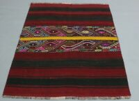 Turkish High Quality Hand Knotted Red Carpet Anatolian Vintage Kilim Rug 4x5 ft.