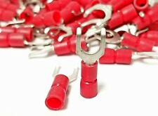 100Pk Flanged Fork Terminal, 22-18 Red Vinyl Insulated #10 Hook