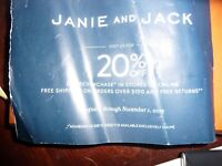JANIE & JACK COUPON Enjoy 20% off Entire Purchase Exp 12/27/19 code or mail
