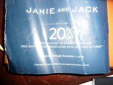 JANIE & JACK COUPON Enjoy 20% off Entire Purchase Exp 5/2/20 code or mail