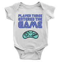 Retro Player Three Entered The Game Babygrow Cool Video Gaming 3rd Baby Present