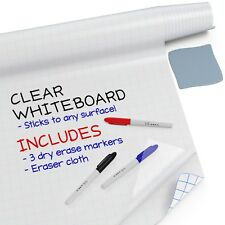 """Clear Whiteboard Contact Paper (6.5Ft x 18"""") Dry Erase Board Sticker Wall Decal"""