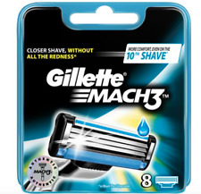 GILLETTE MACH3 BLADES 8  CLOSER SHAVE , WITHOUT ALL YHE REDNESS * NEW *