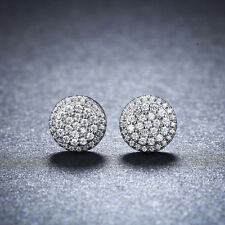 925 Silver Plated Halo Cubic Zirconia Bridal Stud Earrings Round Shape Ear Studs