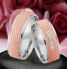 2 Echt Silber 925 Trauringe Eheringe Verlobungsringe Rosé Gold Platiert  J376-RW