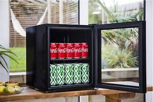Bush Drinks Cooler Table Top Mini Fridge Beer Wine Chiller W/ Glass Door - Black