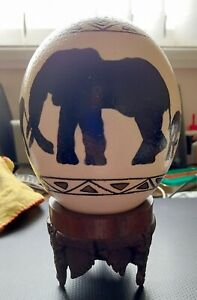 Hand Painted Ostrich Egg African Wildlife Decor + Hand Carved Stand £ Elephants