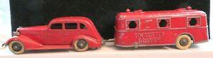 Vintage Tootsietoy RARE Red Roamer Set #713 LaSalle Sedan #1044 Roamer Trailer