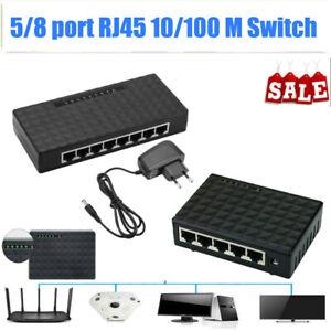 5 Ports 8 Ports 100Mbps Ethernet LAN Switch Netzwerk Verteiler RJ45 Splitter Hub