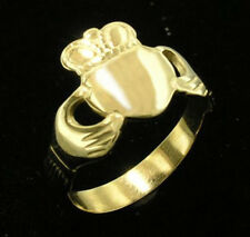 R028- Genuine 9ct Solid Yellow Gold Claddagh Friendship Ring size K / 5