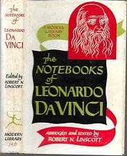 THE NOTEBOOKS OF LEONARDO DaVINCI, Modern Library 1959 HCDJ, Near Fine condition