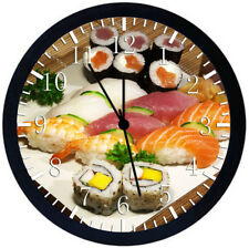 Japanese Sushi Black Frame Wall Clock Nice For Decor or Gifts Y84