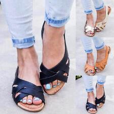 Womens Ladies Summer Beach Sandals Slingback Ladies Flat Peep Toe Shoes Size