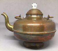 Vintage Copper Tea Kettle Pot w/ Brass & Porcelain Handle - Holland M mark