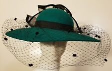 Vintage, Lancaster, Wool, Pine Green, Feathered/Bowed, Church Hat (Small)
